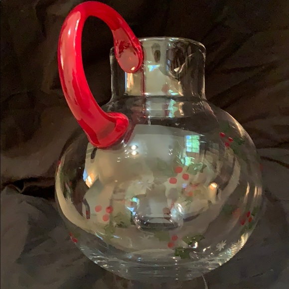 Other - Blown Glass Holiday Juice Pitcher